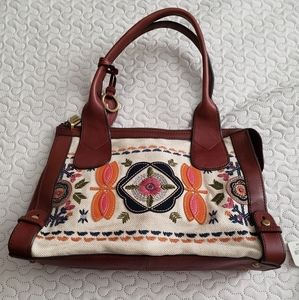 Fossil VRI Embroidered Satchel New, with defects